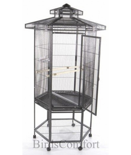 AE Hexagonal Aviary Bird Cage  with Pagoda Top 27x30