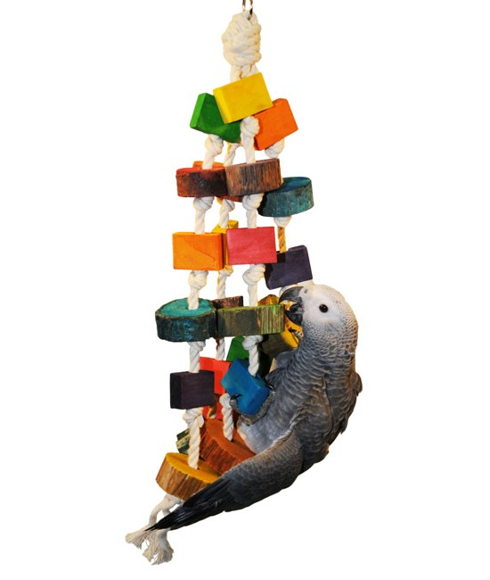 Wood Bird Toys : Colored wood circles bird toys