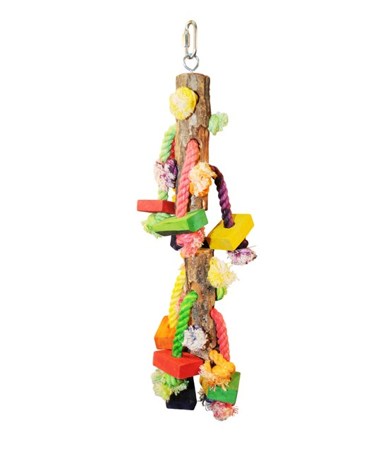 Hanging Wood Blocks on Rope Bird Toy