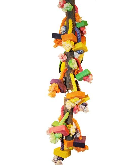 Large Hanging Wood Block Bird Toy