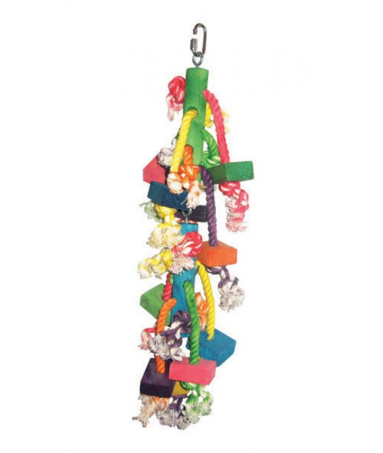 Small Hanging Wood Block Bird Toy