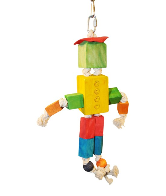 Wood Block Man Bird Toy