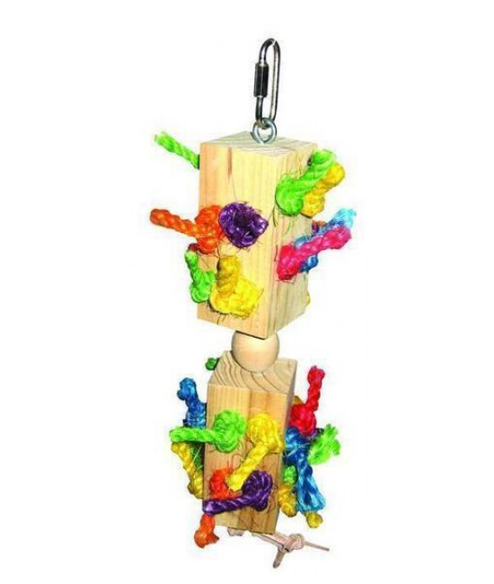 Wood Knots Trapped in Blocks Bird Toy