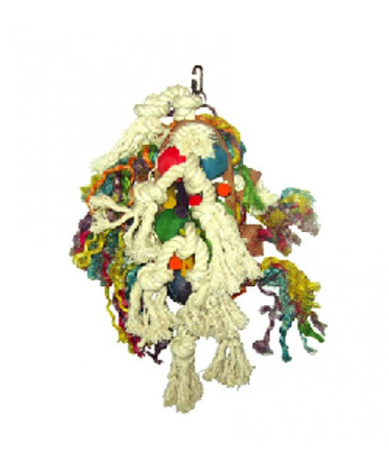 Wood Leather Rope Cluster Bird Toy