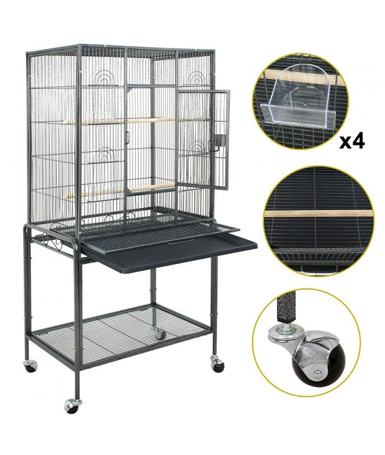 Lovebird Cages Flight House With Stand Black