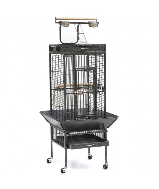 Open Play Top Parrot Bird Cage For Cockatiels, Parakeets, Conure, Lovebird - Black